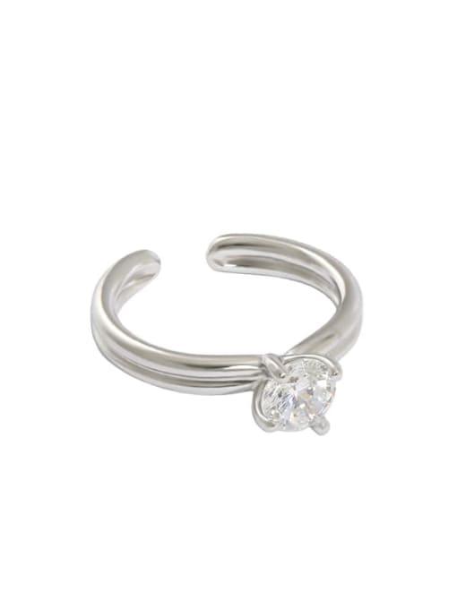 Platinum [13 adjustable] 925 Sterling Silver Cubic Zirconia Irregular Minimalist Band Ring